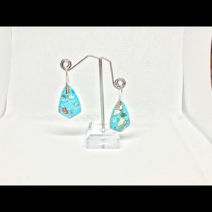 Turquoise semi precious whole stone earrings